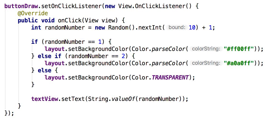 Final code for click listener